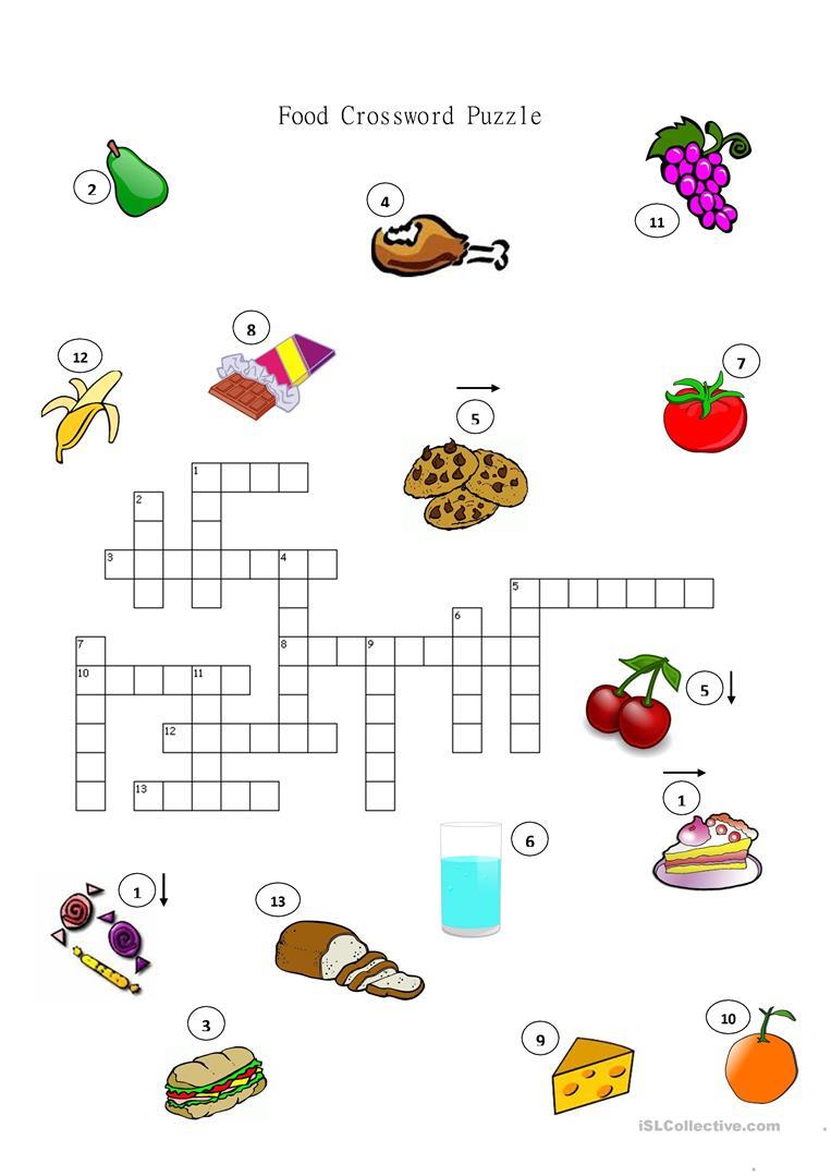 Food Crossword Puzzle Worksheet - Free Esl Printable Worksheets Made - Worksheet On Puzzle