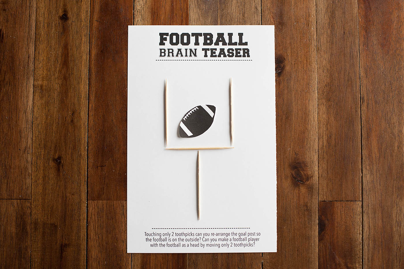 Football Brain Teaser Printable — All For The Boys - Printable Toothpick Puzzles