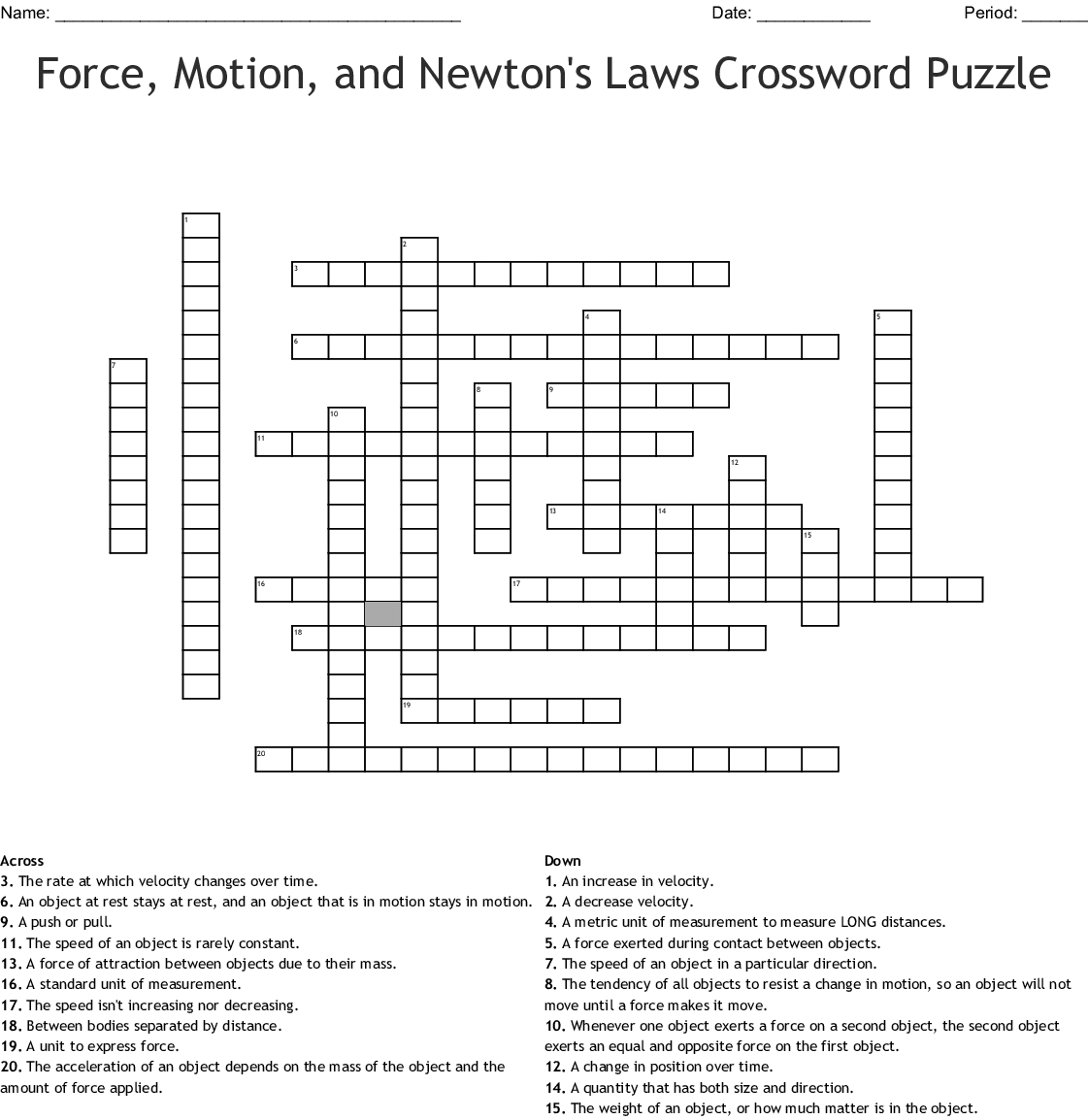 Force, Motion, And Newton's Laws Crossword Puzzle Crossword - Wordmint - Physics Crossword Puzzles Printable With Answers