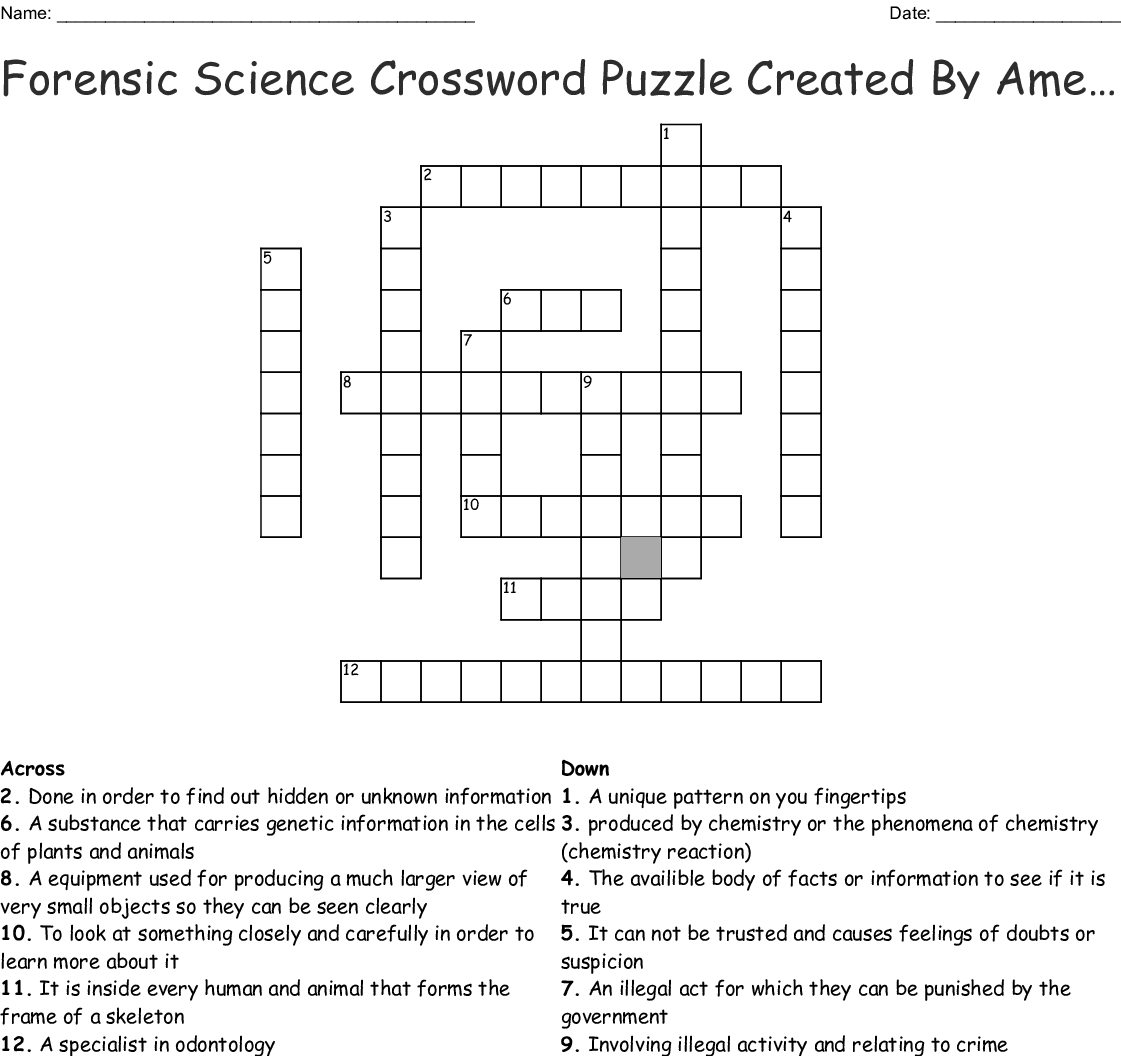 Forensic Science Crossword Puzzle Createdamelia Crossword - Wordmint - Science Crossword Puzzles Printable With Answers