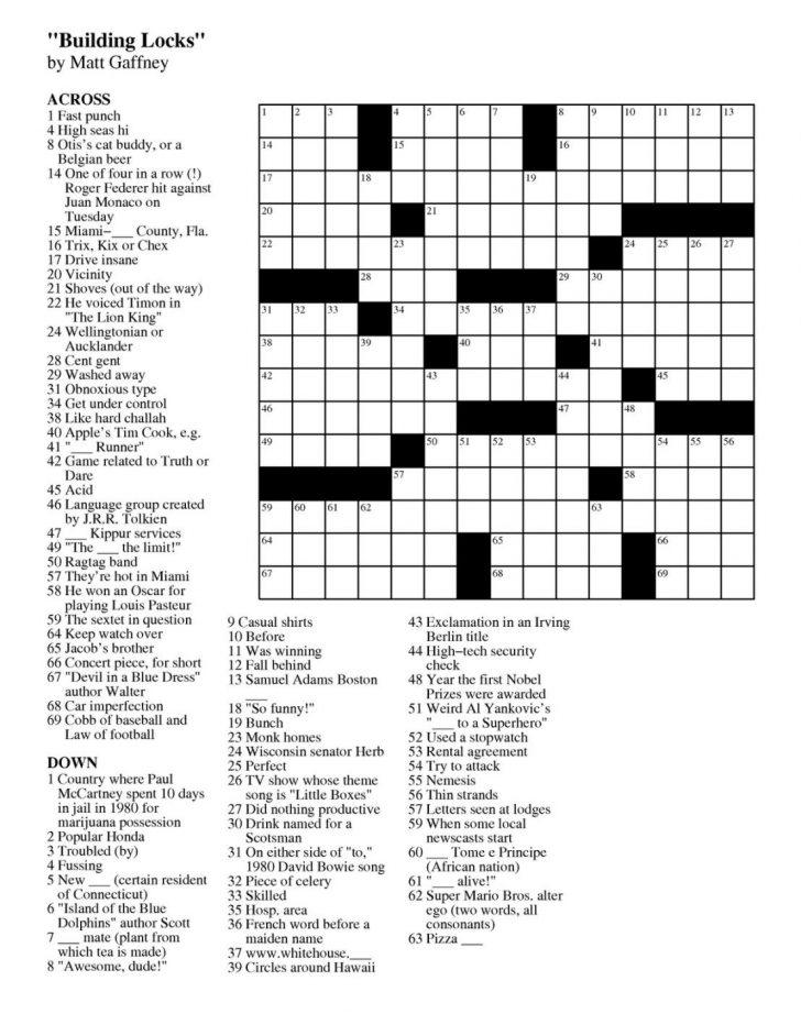 Easy Crossword Puzzles Free Online Printable