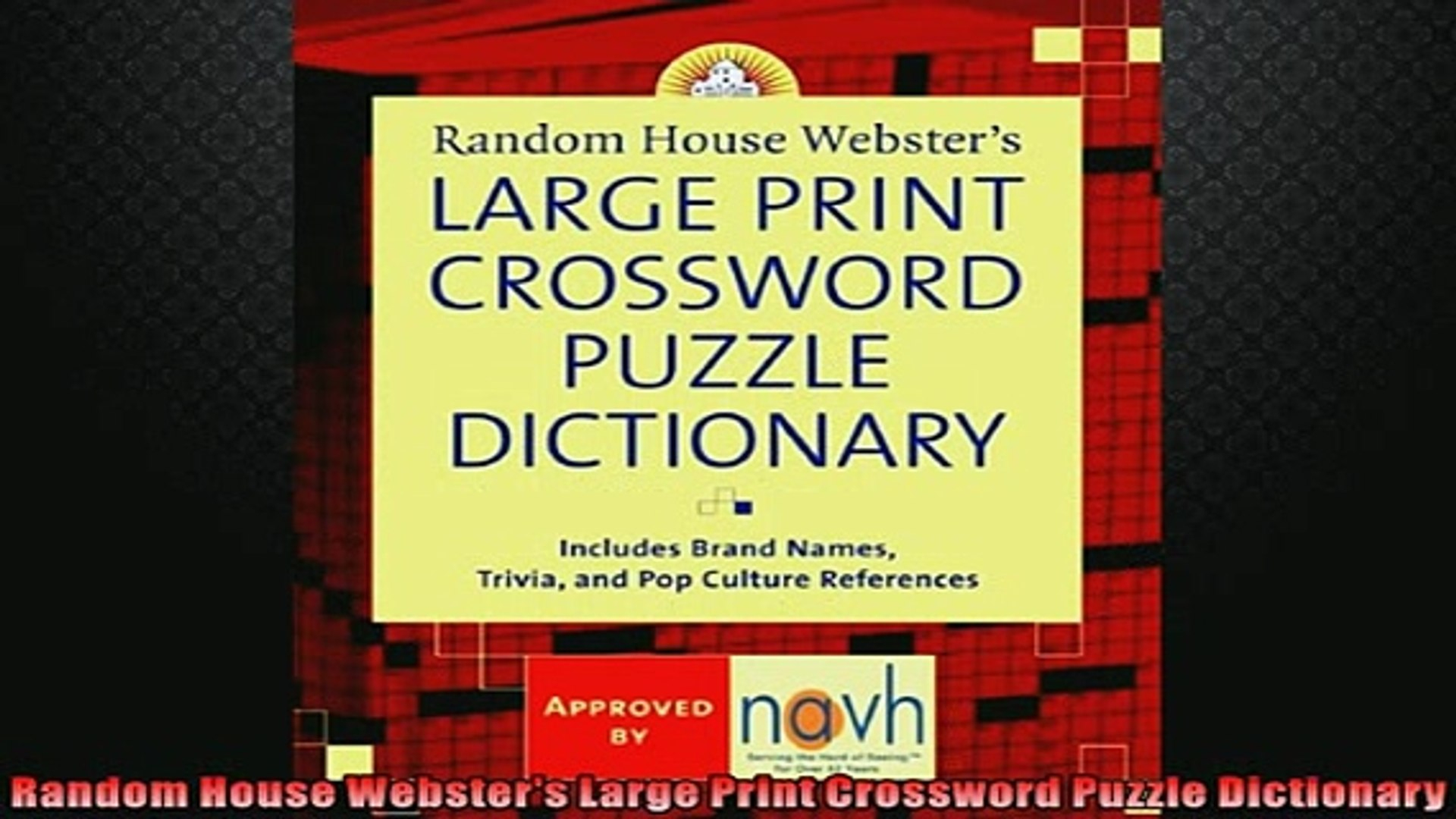 Free Download Random House Websters Large Print Crossword Puzzle - Large Print Crossword Puzzle Dictionary