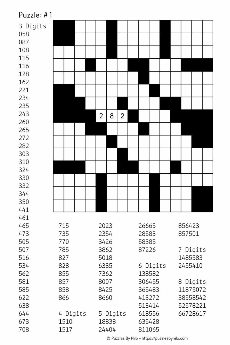 Free Downloadable Number Fill In Puzzle - # 001 - Get Yours Now - Fill In Crossword Puzzles Printable