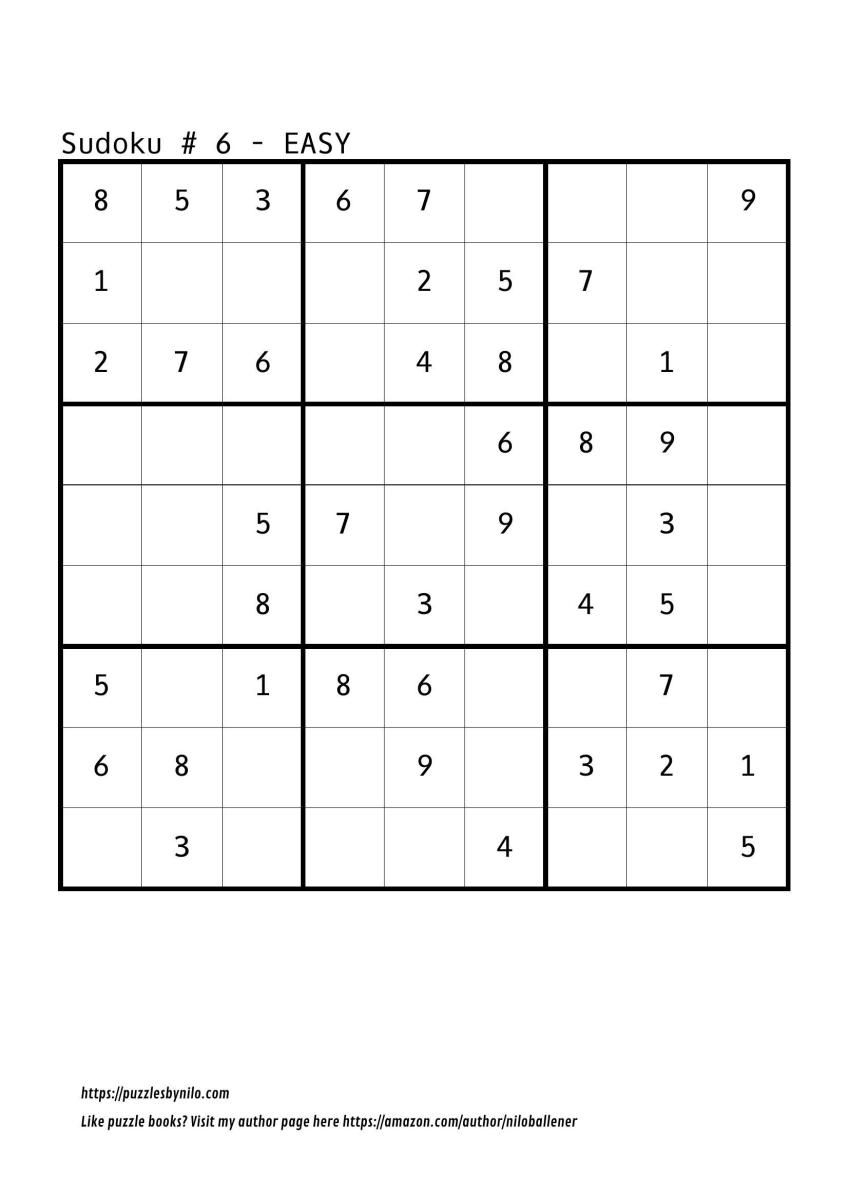 Free Downloadable Sudoku Puzzle Easy #6 | Puzzles | Sudoku Puzzles - Printable Sudoku Puzzles Easy #6