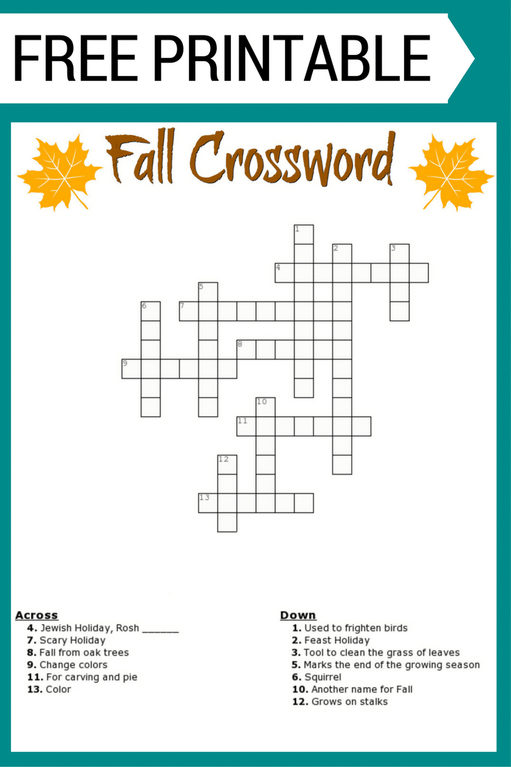 Free #fall Crossword Puzzle #printable Worksheet Available With And - Printable Crossword Puzzles For Kids With Word Bank