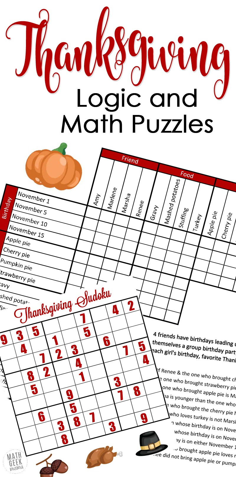 Free} Fun Thanksgiving Math Puzzles For Older Kids - Printable Thanksgiving Puzzle