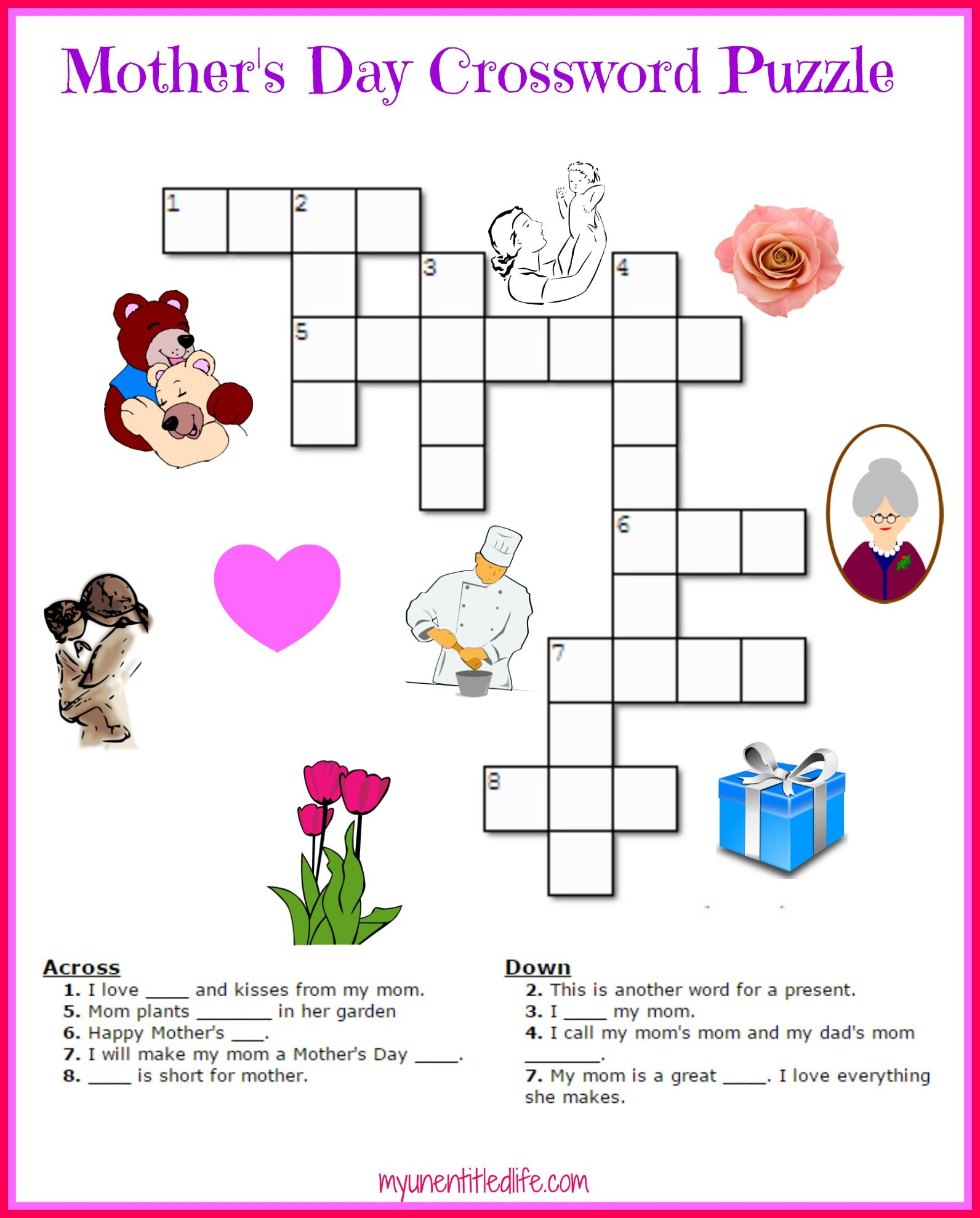 Free Mother's Day Crossword Puzzle Printable | Crafts For Kids - Printable Daily Puzzle