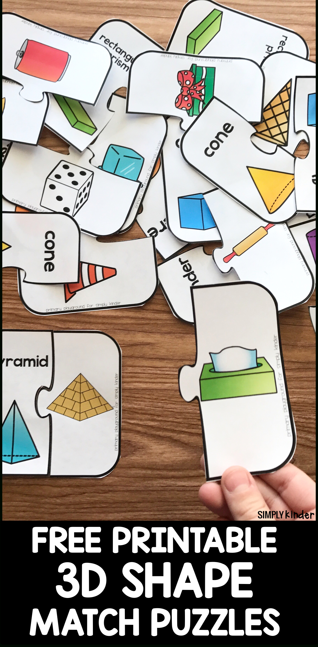 Free Printable 3D Shape Puzzles - Simply Kinder - Printable 3D Puzzle
