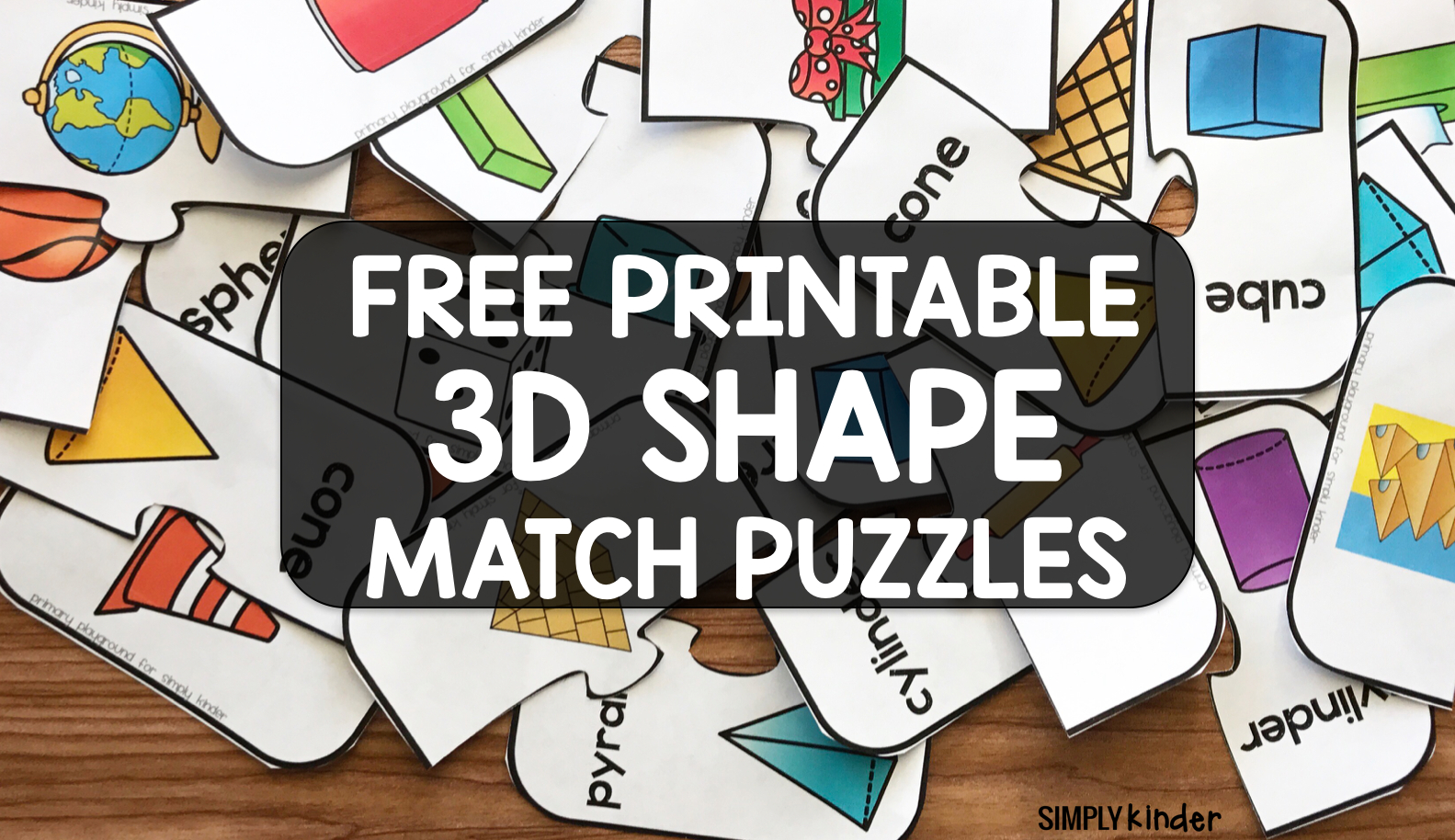 Free Printable 3D Shape Puzzles - Simply Kinder - Printable 3D Puzzles