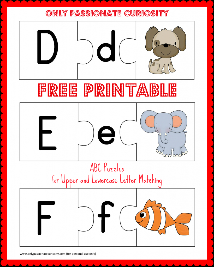 Free Printable Abc Puzzles | School Is Fun | Upper, Lowercase - Printable Letter Puzzle