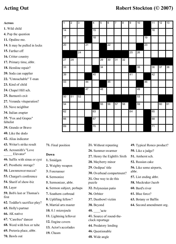 Free Printable Cards: Free Printable Crossword Puzzles | Free - Printable Crossword Puzzles May 2019