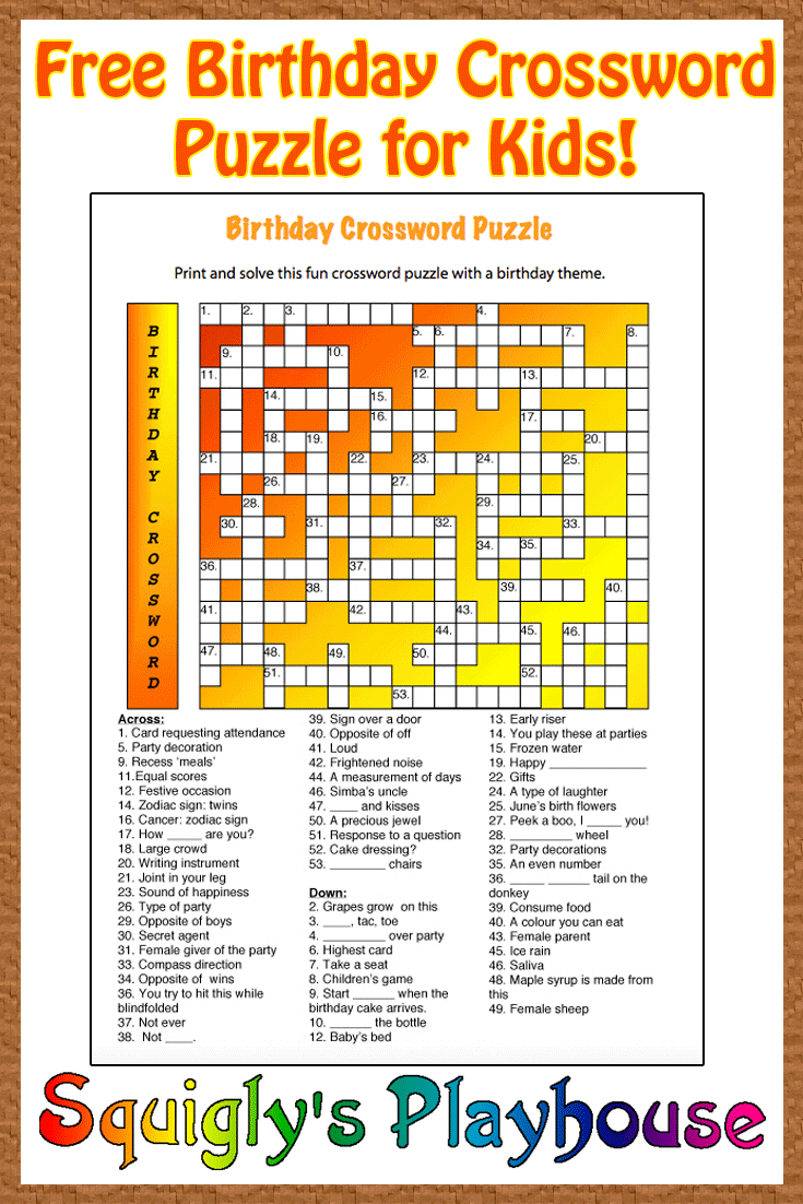 Free Printable Crossword Puzzle For Kids. The Theme Of This Puzzle - Birthday Crossword Puzzle Printable