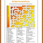 Free Printable Crossword Puzzle For Kids. The Theme Of This Puzzle   Printable Birthday Puzzle