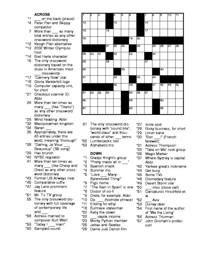 Free Printable Sports Crossword Puzzles