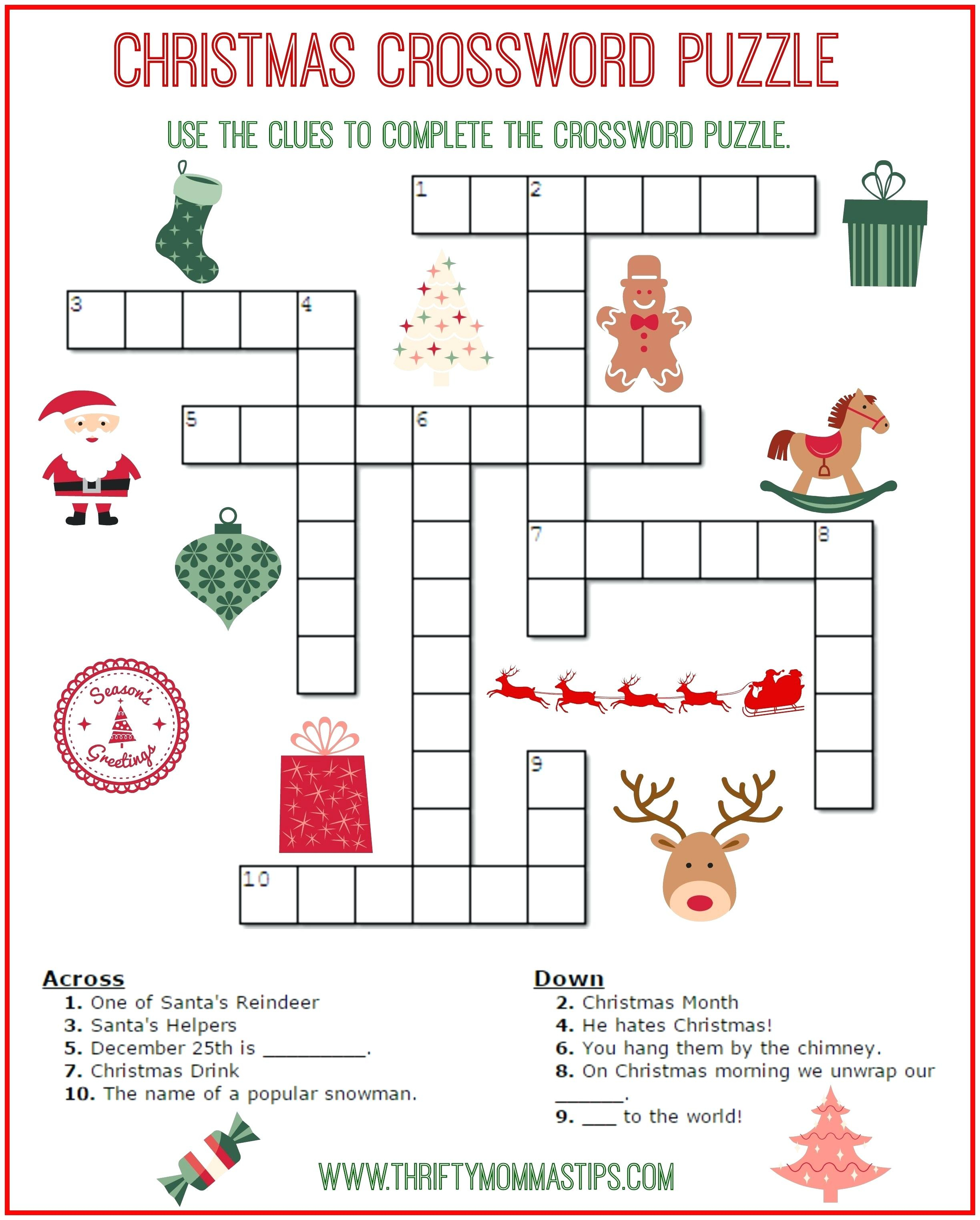 Free Printable Crossword Puzzles For Kids State Capitals Crossword - Printable Crossword Puzzles Elementary School