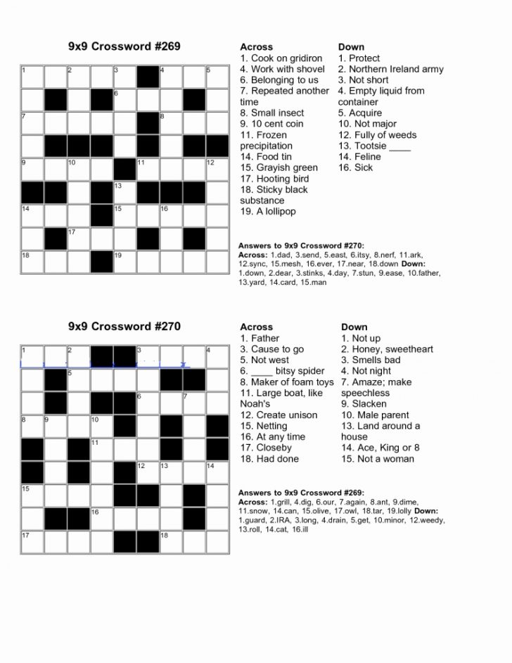 Printable Crossword Puzzles For 10 Year Olds