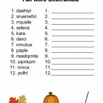 Free Printable   Fall Word Unscramble | Games For Senior Adults   Printable Jumble Puzzles For Adults
