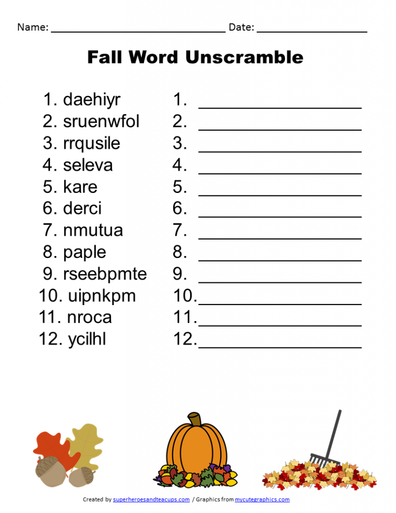 Free Printable - Fall Word Unscramble | Games For Senior Adults - Printable Jumble Puzzles For Adults