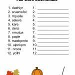 Free Printable   Fall Word Unscramble | Games For Senior Adults   Printable Unscramble Puzzles