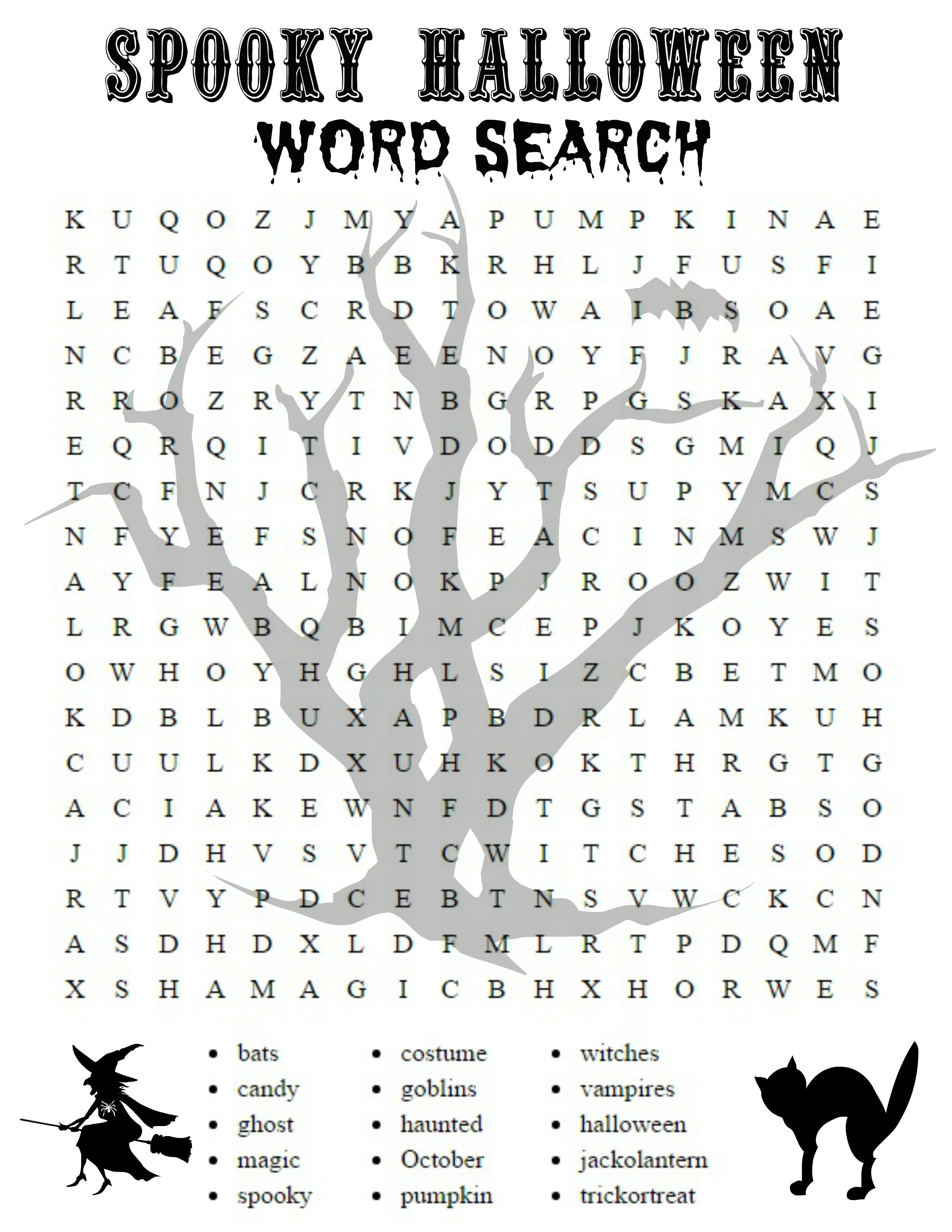 Free Printable Halloween Activities For First Graders | Halloween - Printable Halloween Crossword Puzzles Word Searches