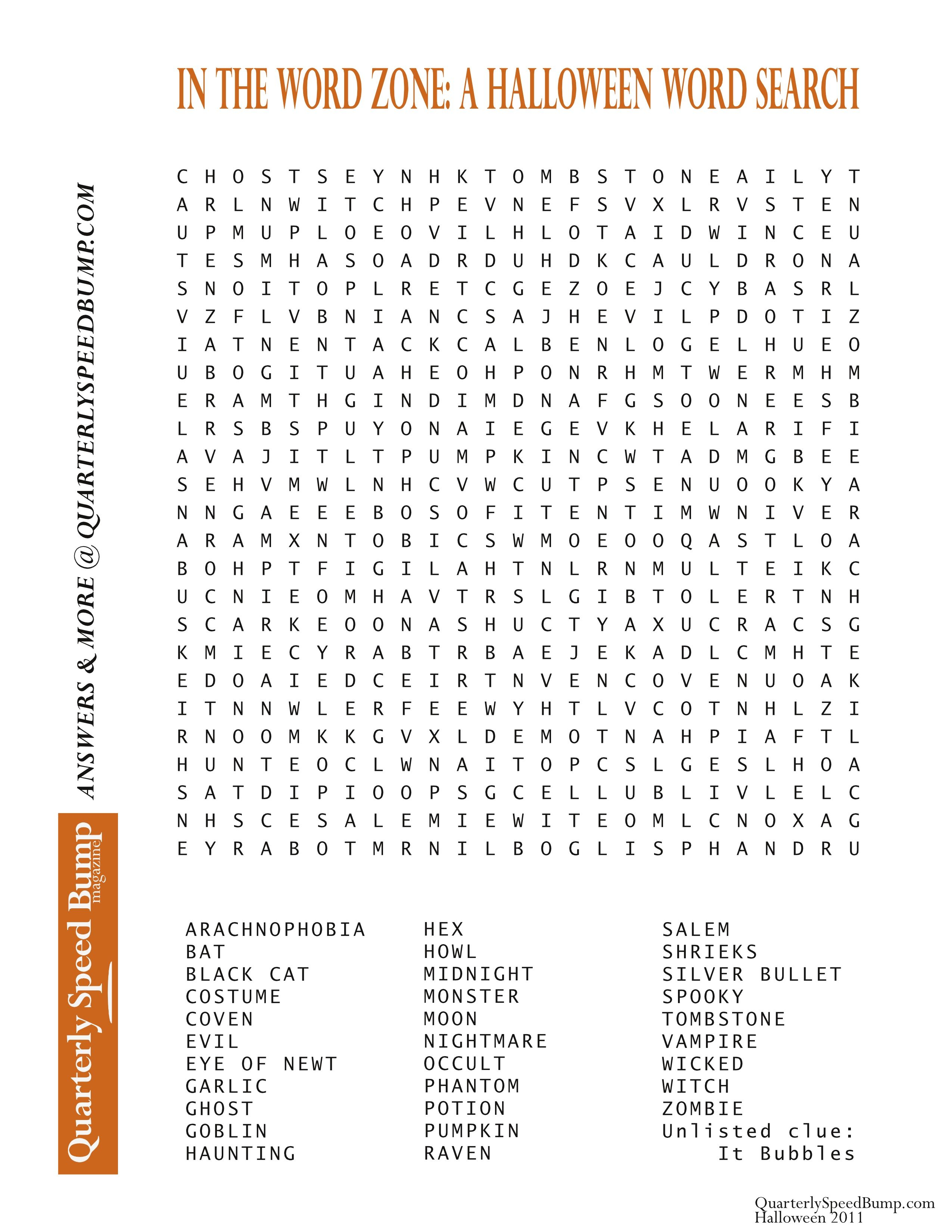 Free Printable Halloween Word Search Puzzles | Halloween Puzzle For - Printable Halloween Puzzle Pages