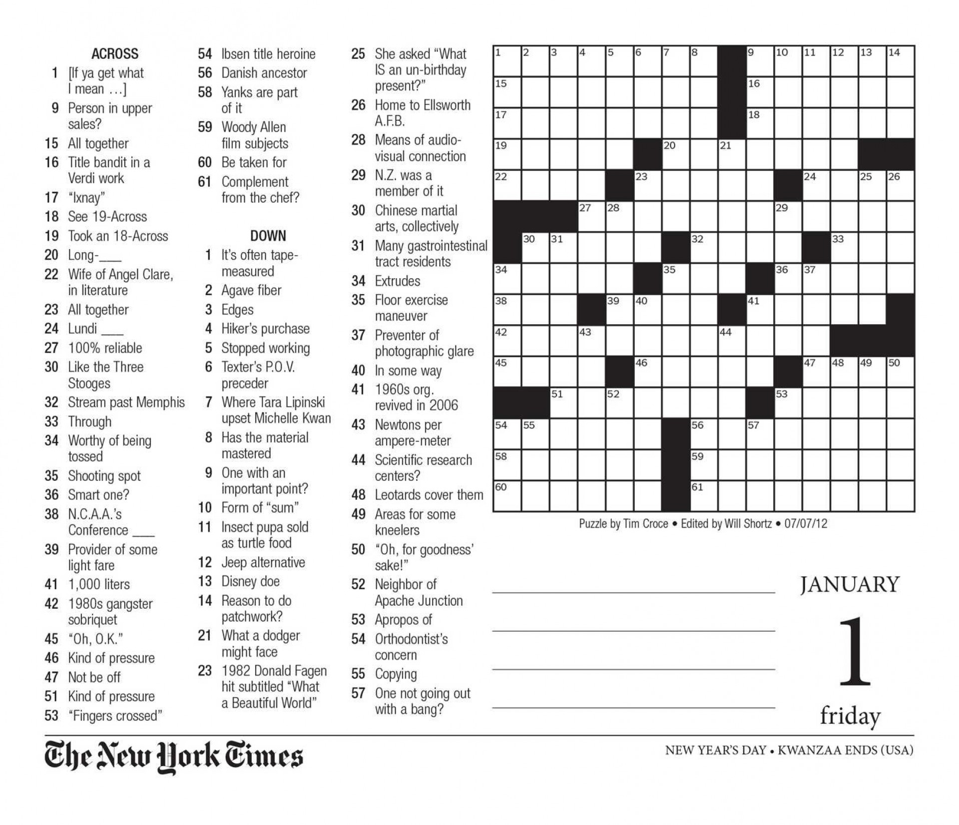 Free Printable Large Print Crossword Puzzles | M3U8 - Easy Printable Crossword Puzzles Large Print
