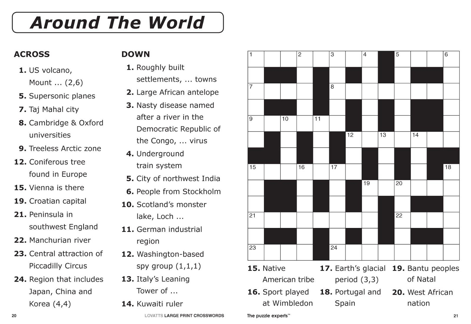Free Printable Large Print Crossword Puzzles | M3U8 - Printable Crossword Puzzle With Answer Key
