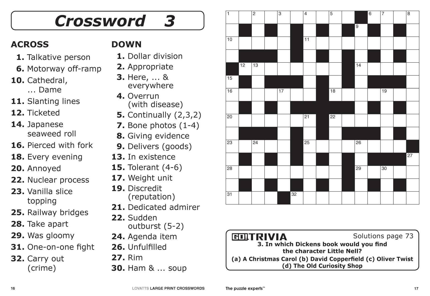 Free Printable Large Print Crossword Puzzles | M3U8 - Printable Japanese Crosswords