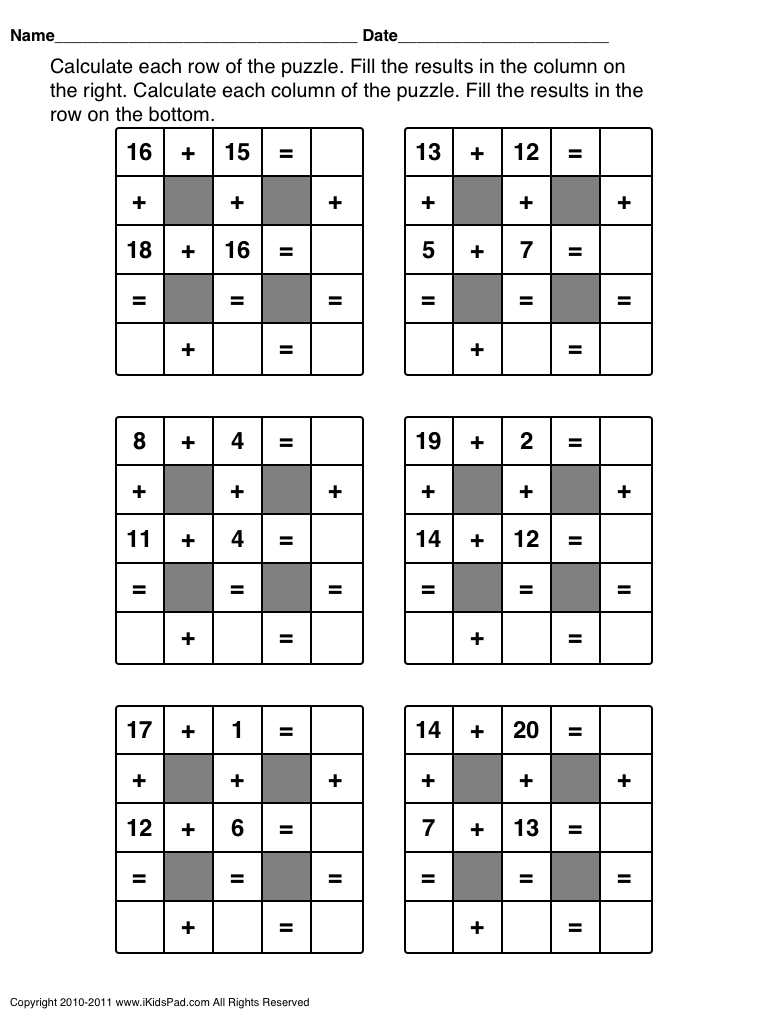 Free Printable Math Games For First Grade Students | Clasa 0 | Maths - Printable Crossword Puzzles For 1St Graders