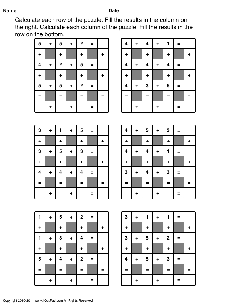 Free Printable Math Operations Puzzle For Kids   Clasa 0   Printable - Printable Math Puzzle Games