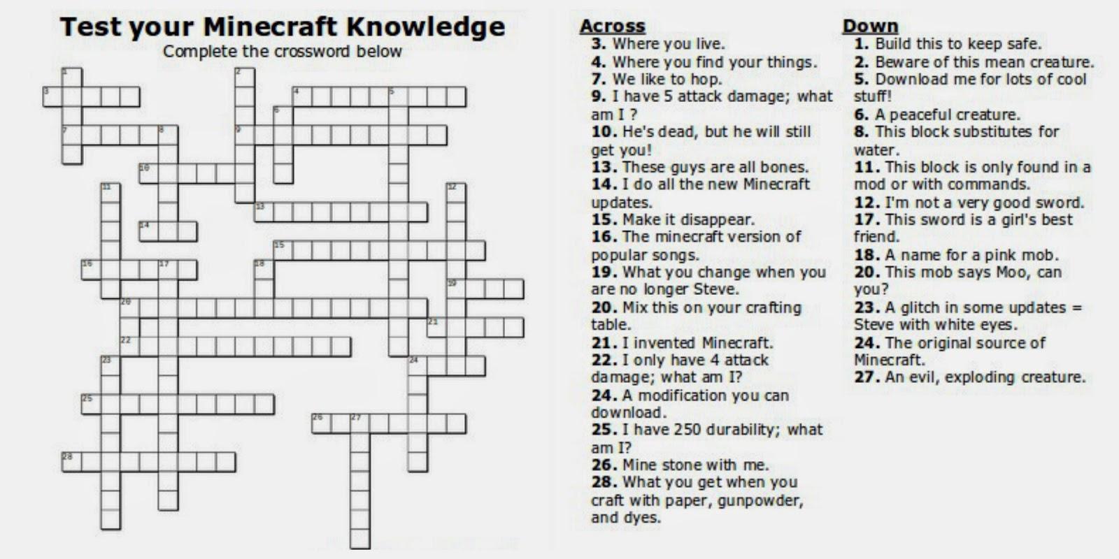 Free Printable Minecraft Crossword Search: Test Your Minecraft - Printable Crossword Puzzles For Tweens