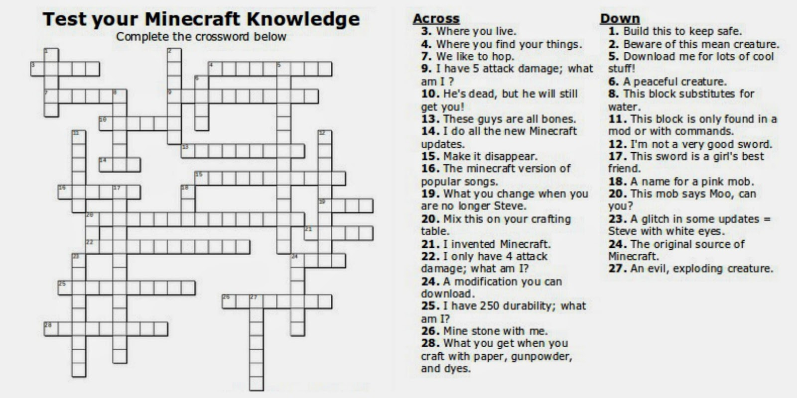Free Printable Minecraft Crossword Search: Test Your Minecraft - Teenage Crossword Puzzles Printable Free