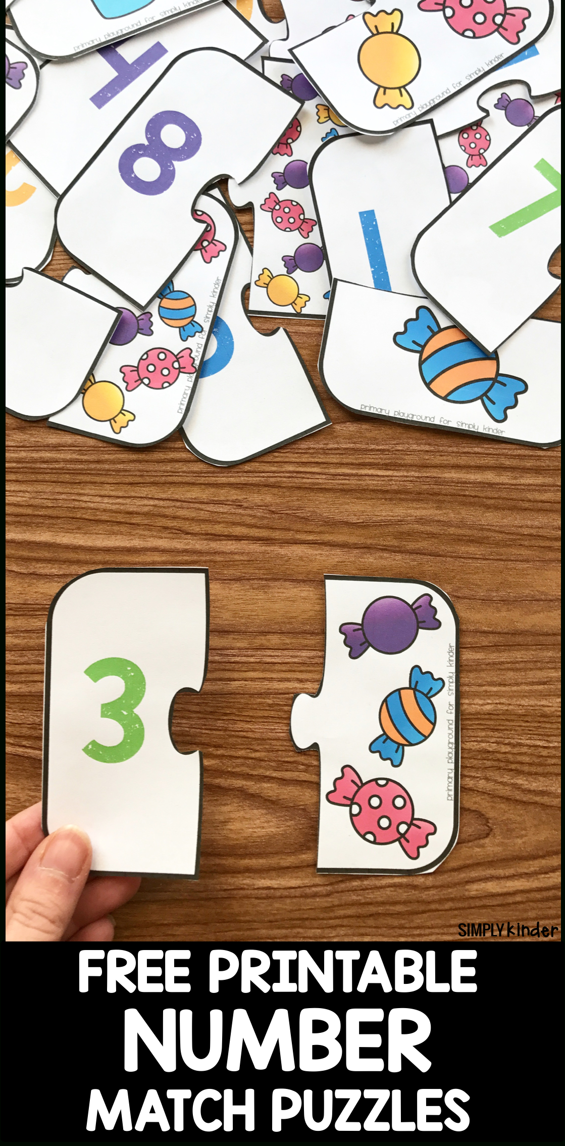 Free Printable Number Match Puzzles - Simply Kinder - Printable Puzzles For Toddlers