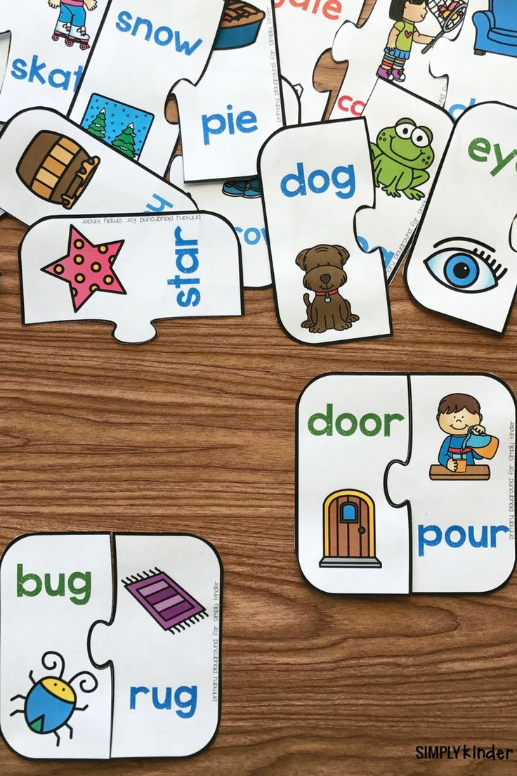 Free Printable Rhyming Puzzles   I ♥ Kindergarten   Pinterest - Printable Puzzles Kindergarten