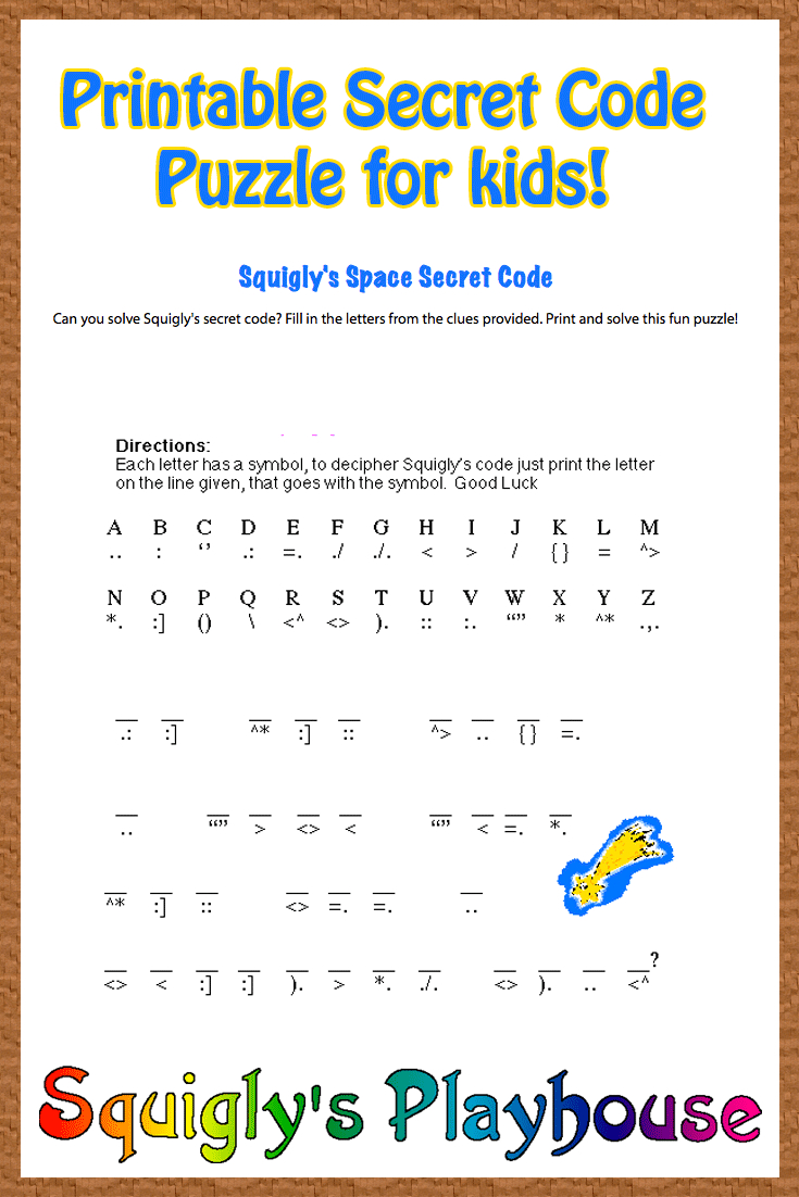 Free Printable Secret Code Word Puzzle For Kids. This Puzzle Has A - Printable Puzzles For 12 Year Olds