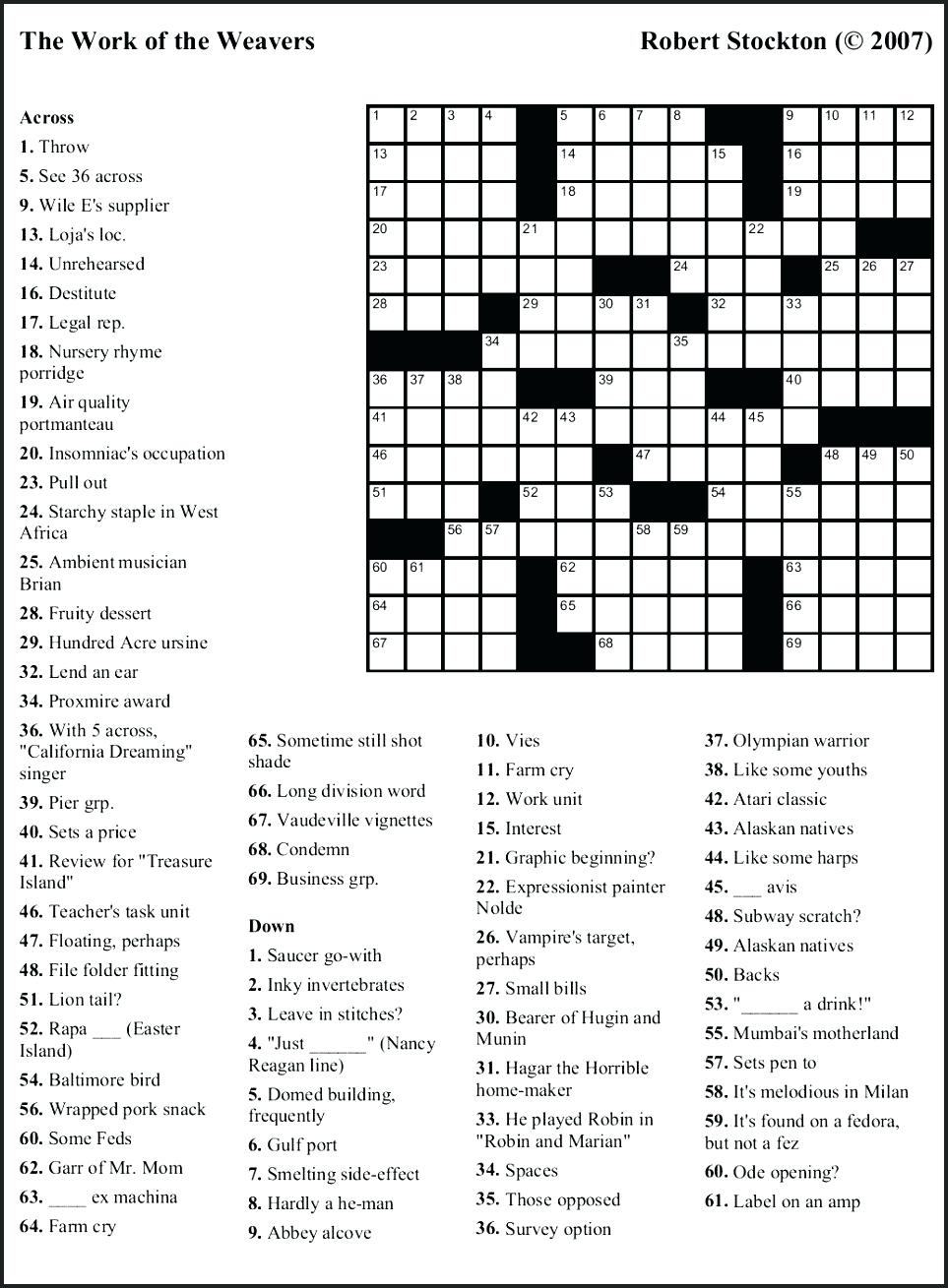 Free Printable Themed Crossword Puzzles – Myheartbeats.club - Printable Themed Crossword Puzzles