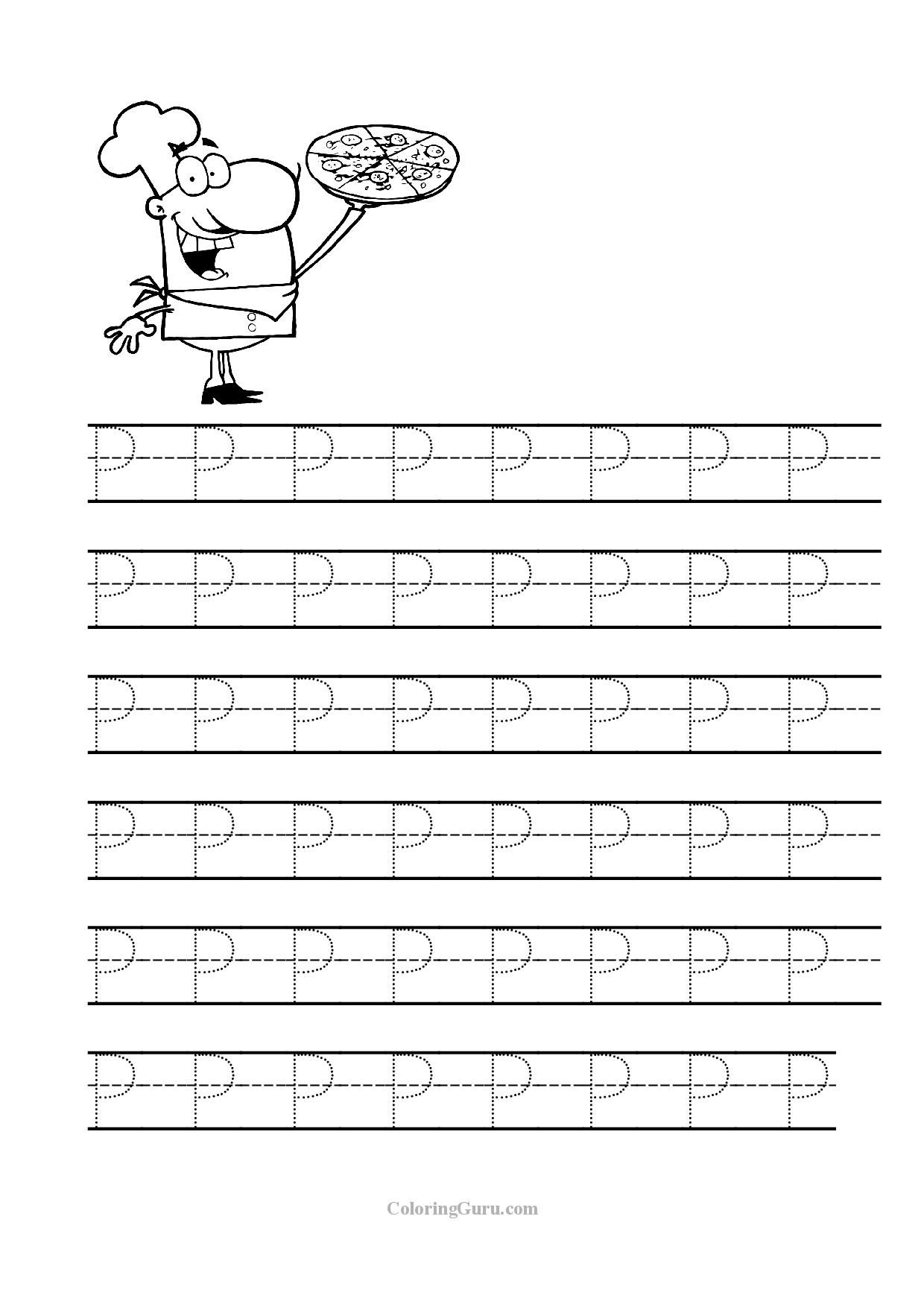 Free Printable Tracing Letter P Worksheets For Preschool   Tracing - Letter P Puzzle Printable