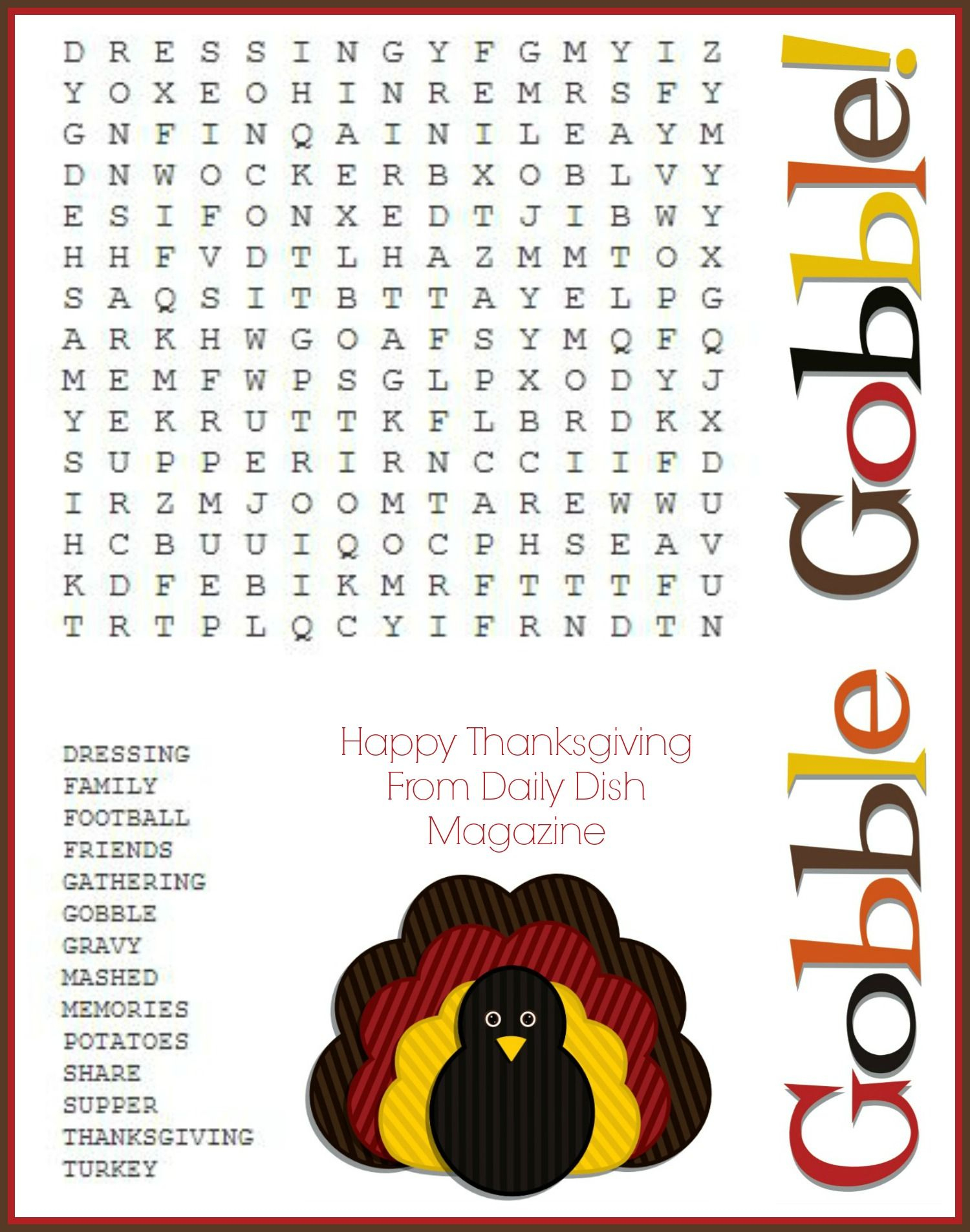 Free Thanksgiving Puzzles ~ Word Search And Maze Printable | Crafty - Difficult Thanksgiving Crossword Puzzles Printable