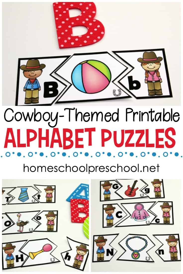Free Wild West Themed Alphabet Puzzle Printables - Printable Letter Puzzles