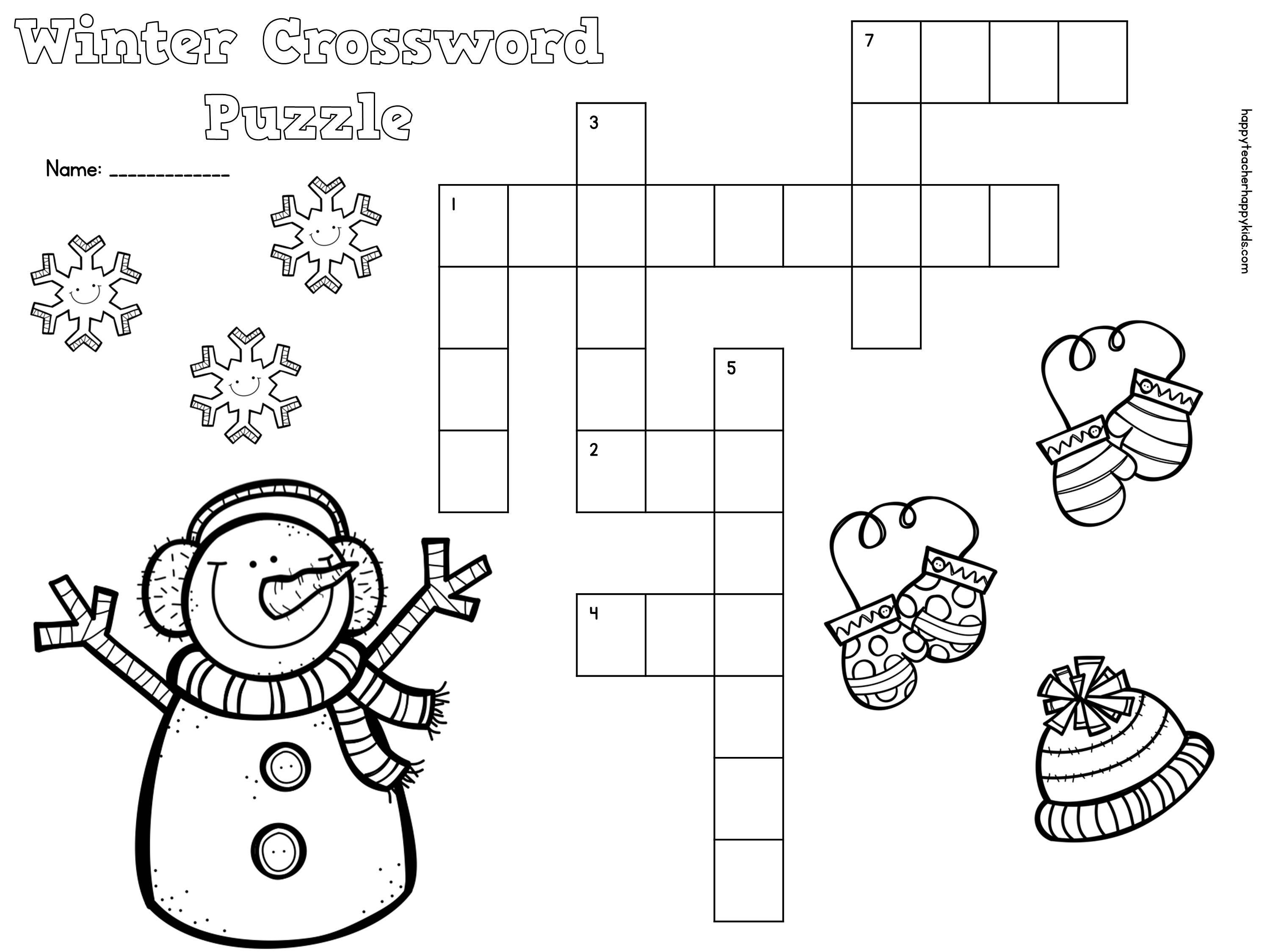 Free Winter Crossword Puzzle For Primary Students | Snow, Penguins - Winter Crossword Puzzle Printable