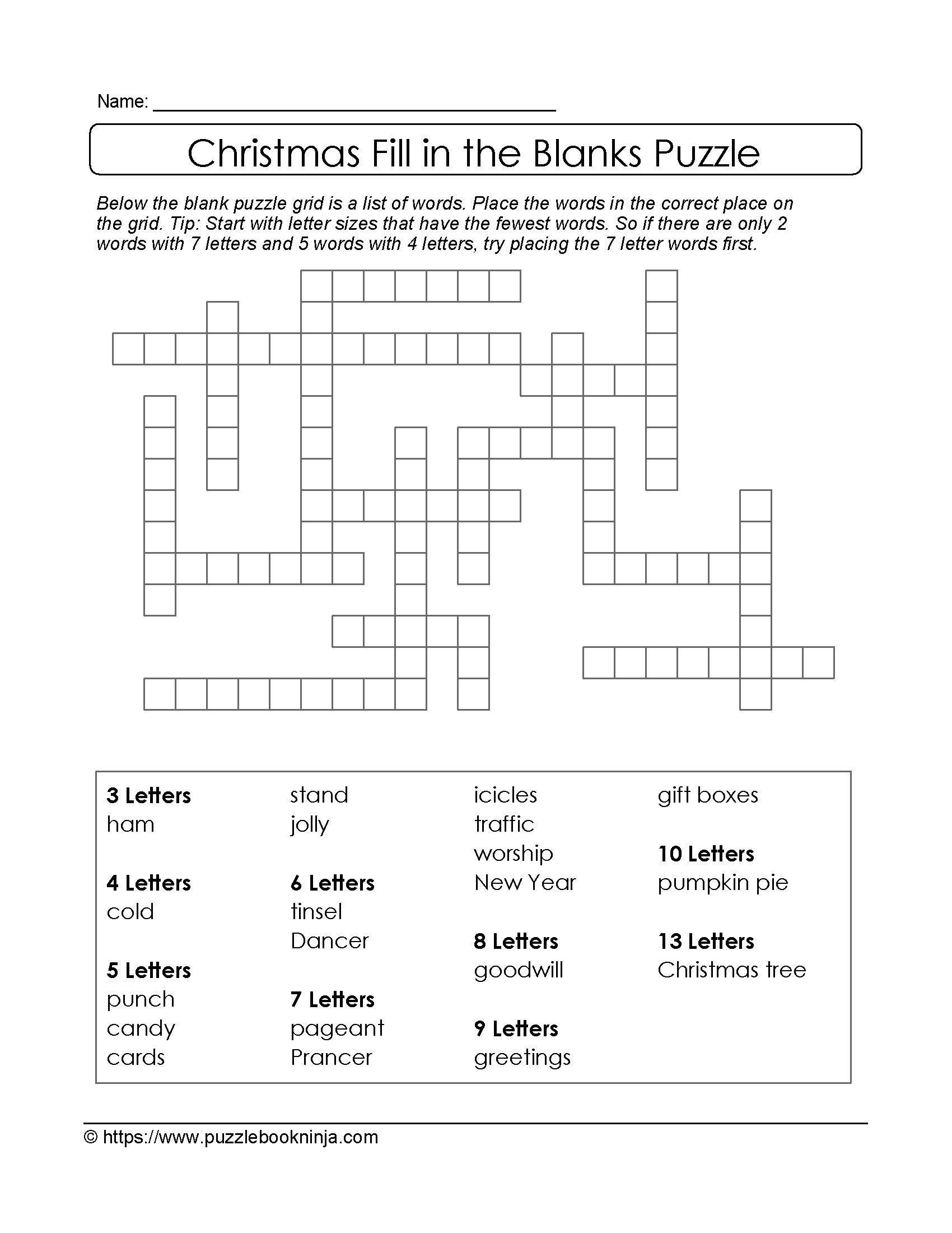 Freebie Xmas Puzzle To Print. Fill In The Blanks Crossword Like - Blank Crossword Puzzle Printable