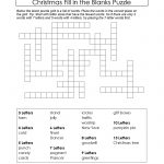 Freebie Xmas Puzzle To Print. Fill In The Blanks Crossword Like   Fill In Crossword Puzzles Printable