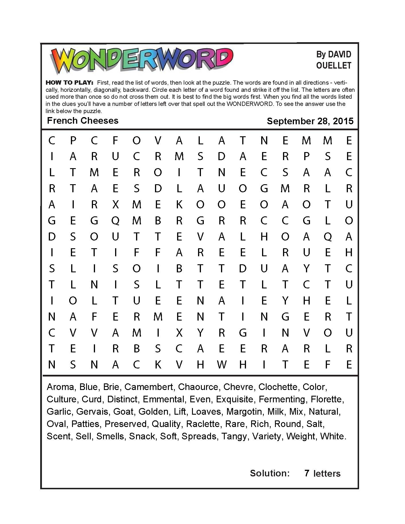 French Cheeses - Printable French Puzzle