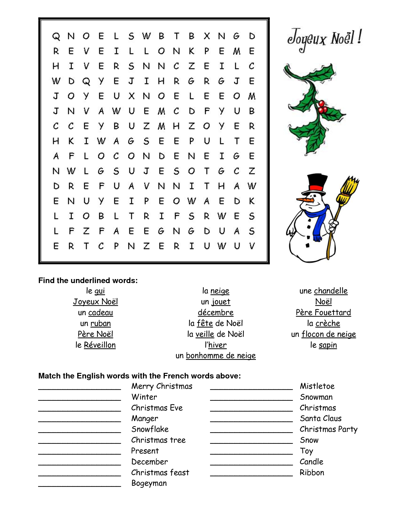 French Christmas Word Search - Google Search | French - Christmas - Printable French Puzzle