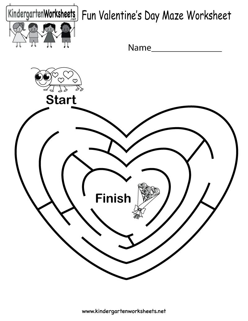 Fun Valentine's Day Maze Worksheet - Free Kindergarten Holiday - Valentine's Day Printable Puzzle