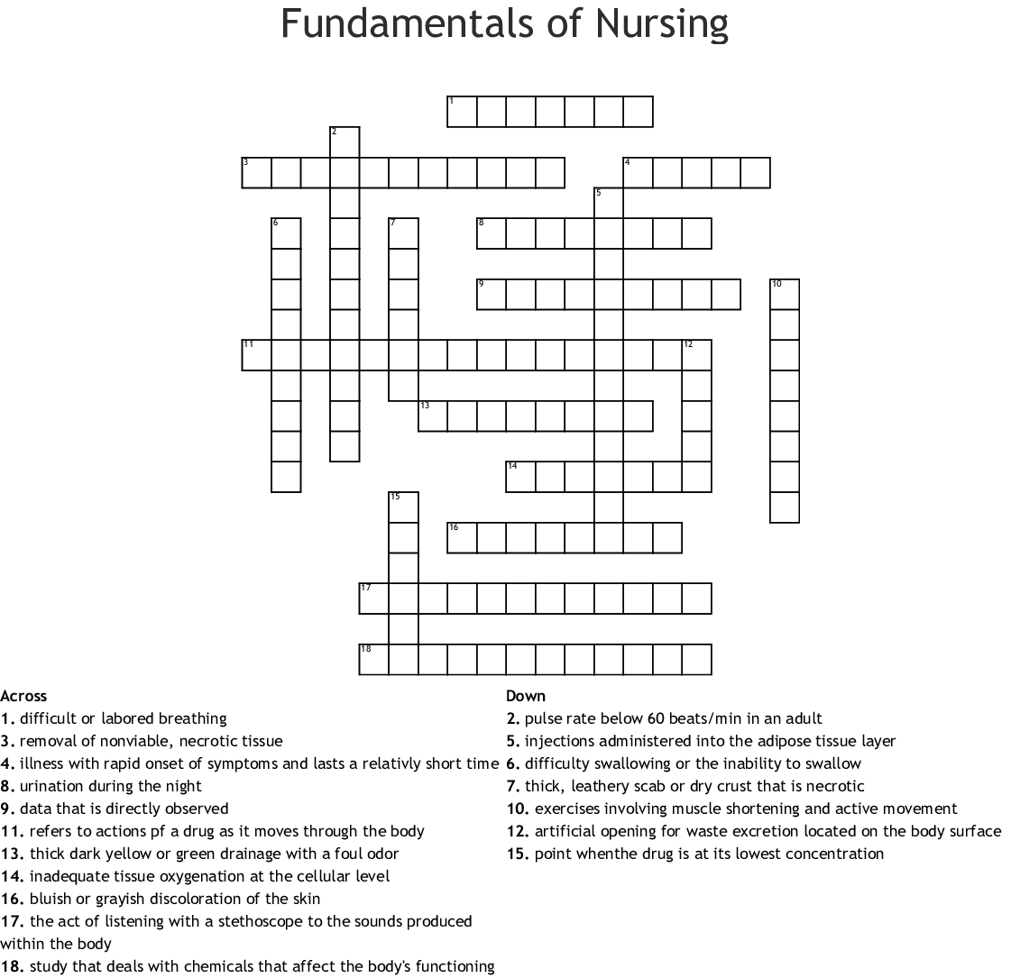 Fundamentals Of Nursing Crossword - Wordmint - Nursing Crossword Puzzles Printable