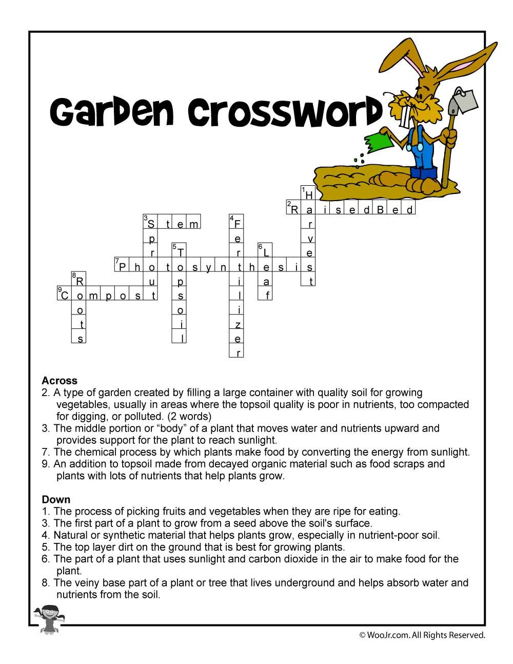 Garden Curriculum Crossword Answers | Woo! Jr. Kids Activities - Printable Gardening Crossword Puzzle