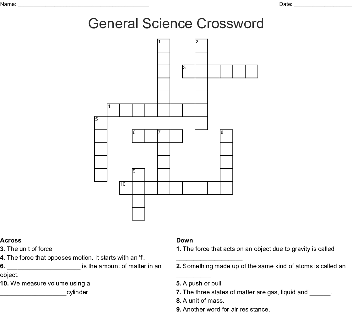 General Science Crossword - Wordmint - Printable Crossword Puzzles Science