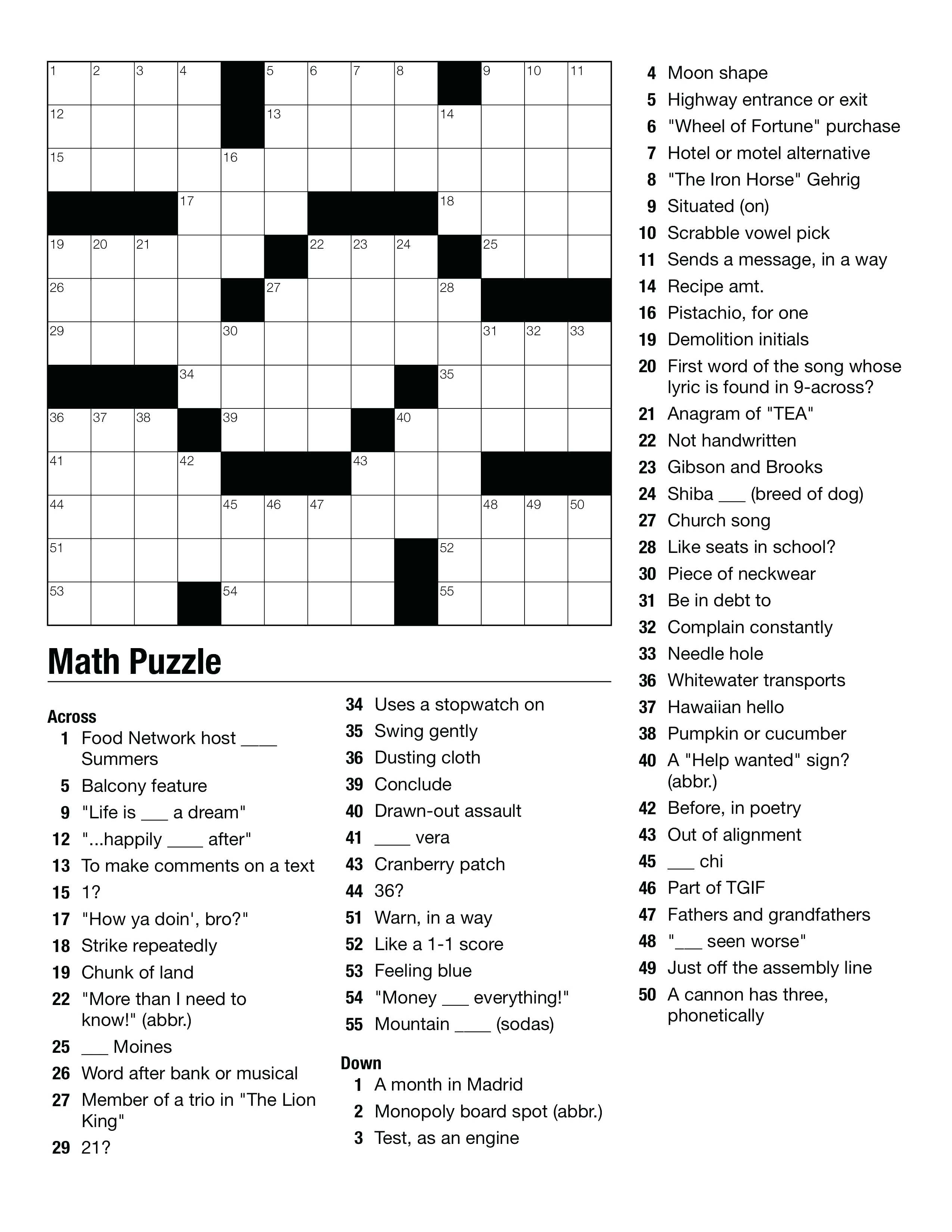 Geometry Puzzles Math – Upskill.club - Free Printable Crossword Puzzles High School