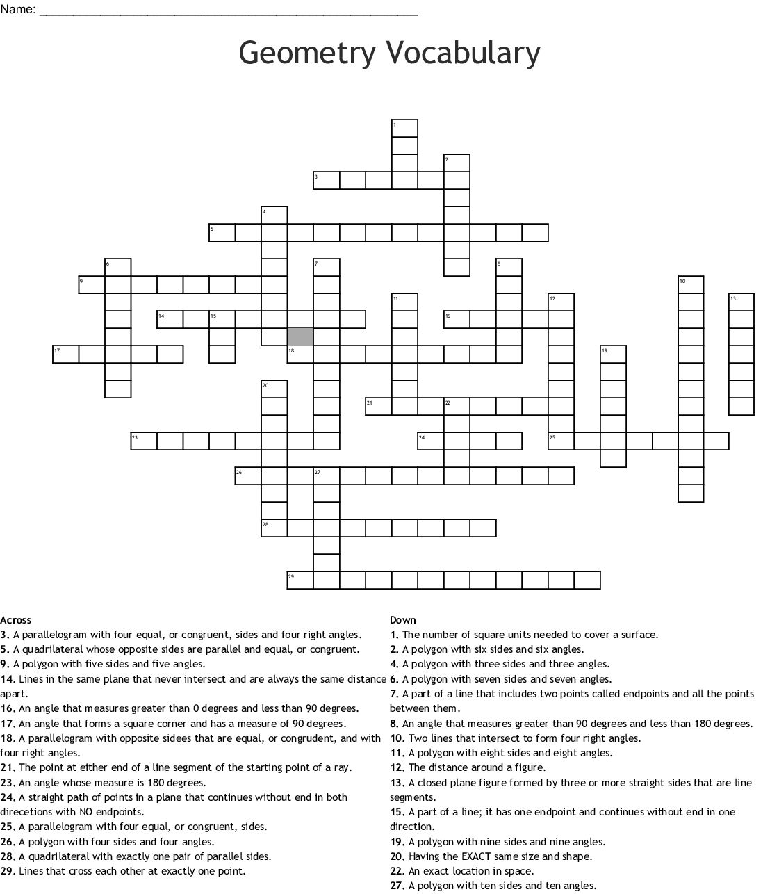 Geometry Vocabulary Crossword - Wordmint - Printable Vocabulary Crossword Puzzles